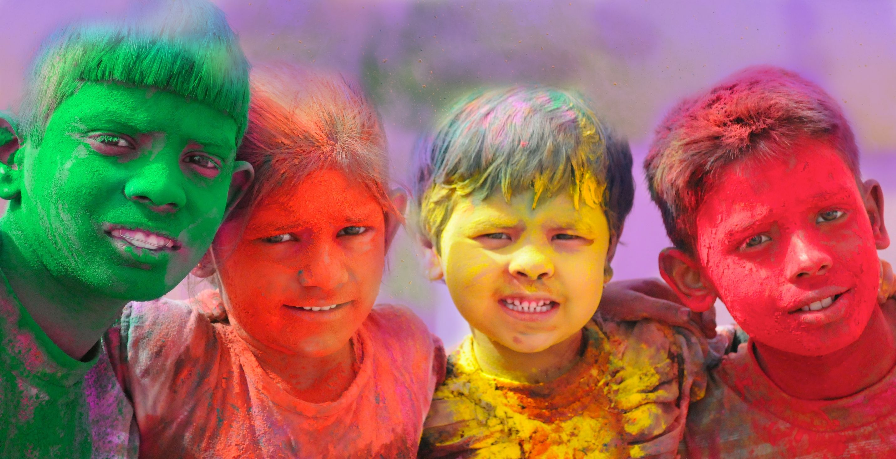 Kids on Holi