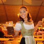 Oktoberfest in beer garden in munich
