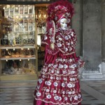 People in costume at Venice Carnival