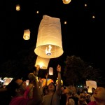 Yee Peng Festival floating lanterns in Chiang Mai, Thailand